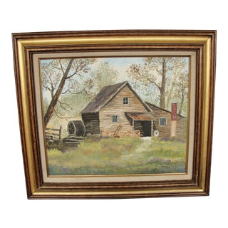Oil on Canvas Painting of Old Mill by M Wagner For Sale