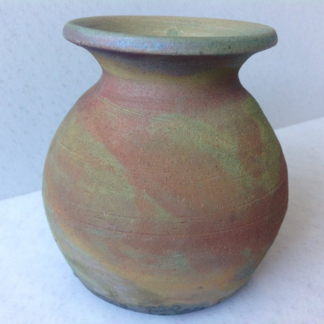 Earth Tone Raku Pottery Vase - Image 4 of 11