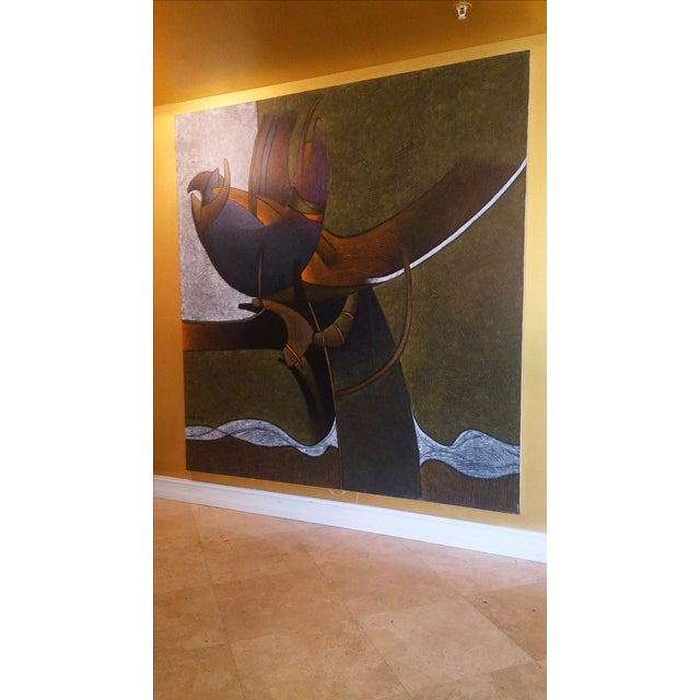 Contemporary Milton Estrella-Gavidia Large Abstract Painting For Sale - Image 3 of 10