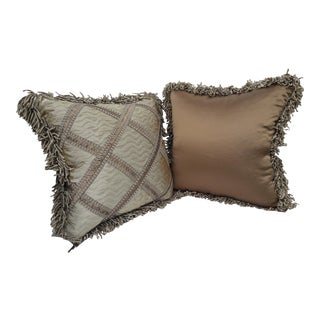 Fringed Silver Accent Pillows - A Pair For Sale