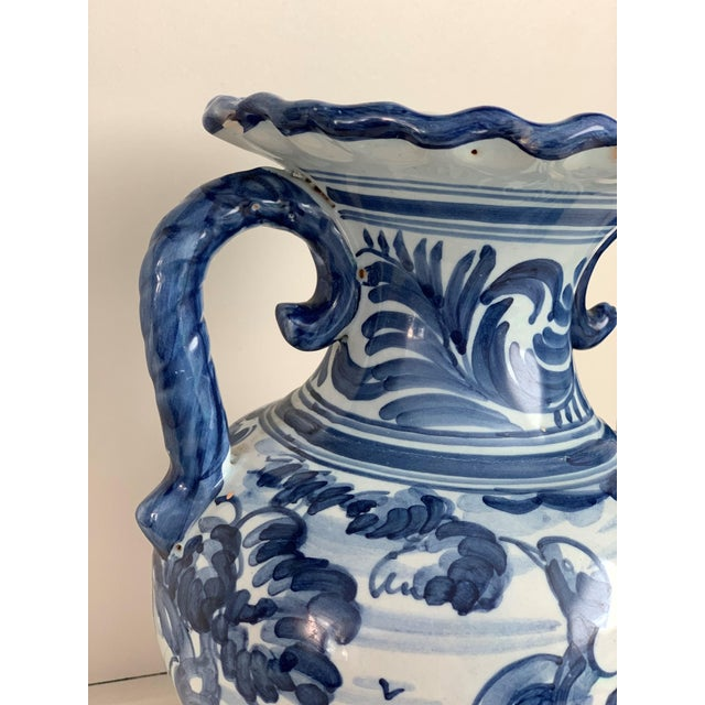 20th Century Glazed Earthenware Spanish Blue and White Painted Urn, Vase For Sale In Miami - Image 6 of 13