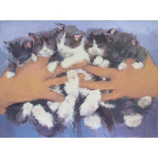 Original Cat Painting Print by Michelle Farro For Sale
