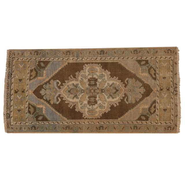 "Vintage Distressed Oushak Rug Mat Runner - 1'8"" X 3'6"" For Sale"