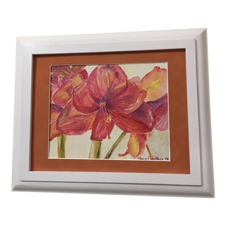 Original Framed Lilac Red Amarylis Oil Painting For Sale