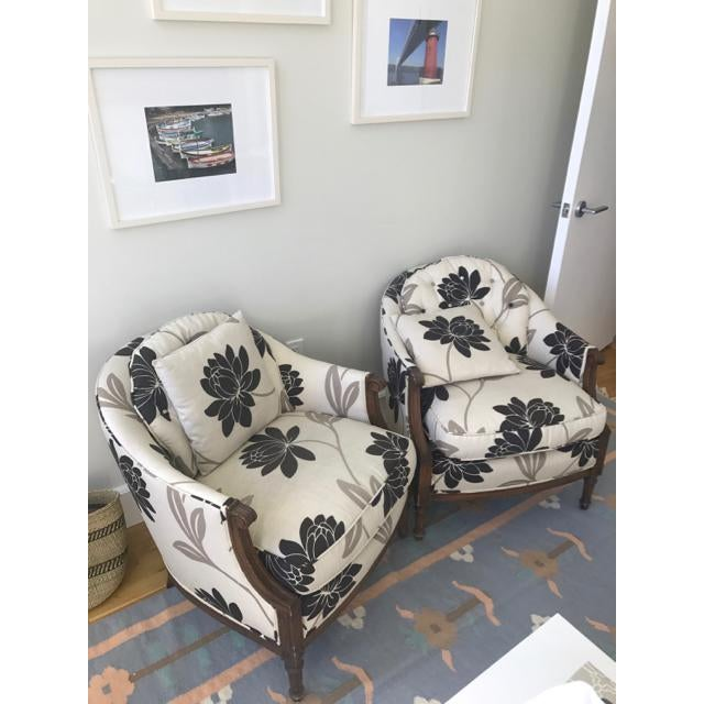 Newly Reupholstered Transitional Accent Chairs - a Pair - Image 3 of 5
