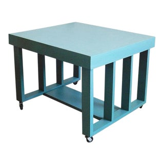 1970s Contemporary Turquoise Table on Castors For Sale