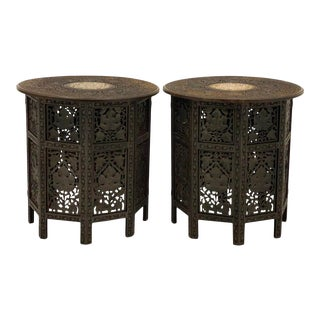 Pair of 1950s Large Scale Bone Inlaid Anglo-Indian Side Tables