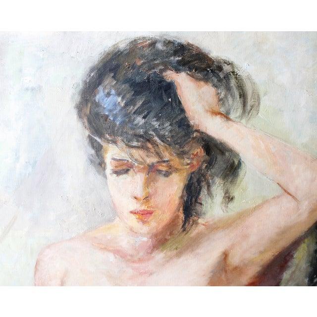 Vintage Walt Litt Oil Painting Nude Woman Portrait - Image 3 of 8