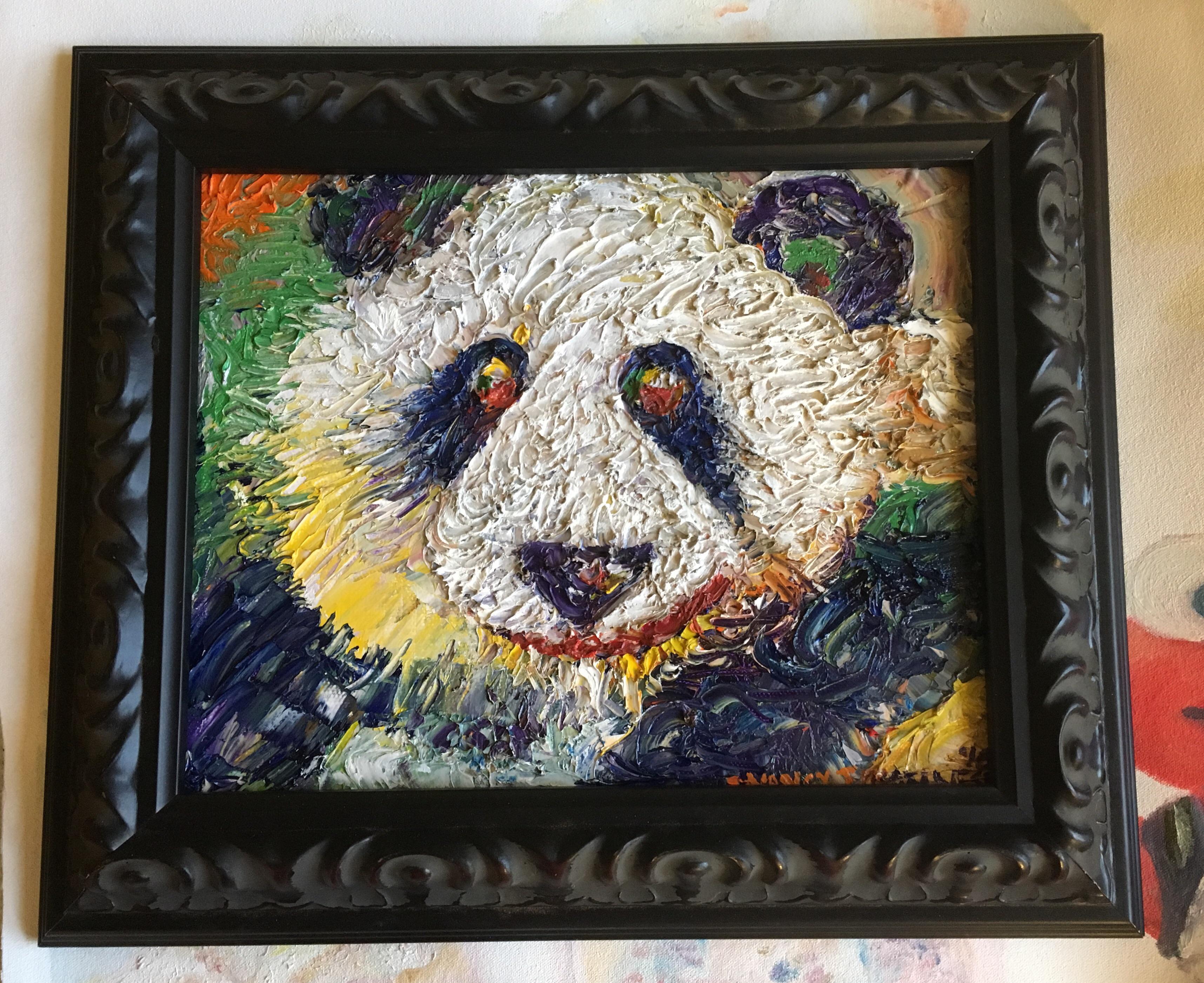 u0026quot panda bear u0026quot  original oil painting