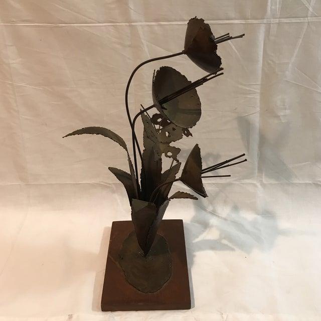 Brutalist Floral Metal Sculpture - Image 3 of 11