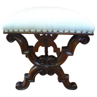 1920's Antique Spanish Walnut Ottoman For Sale