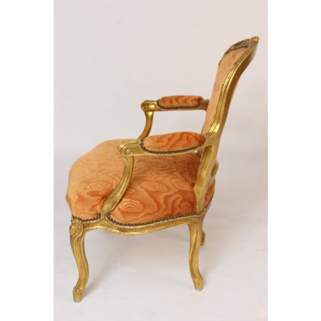Louis XV Antique Louis XV Style Gilt Wood Armchairs - a Pair For Sale - Image 3 of 11