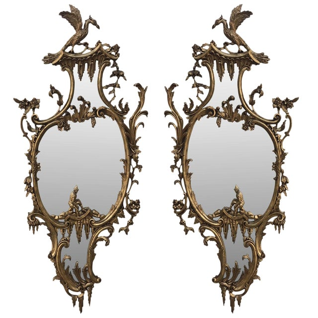 Vintage Mid-Century Chinese Chippendale Style Gilt-Wood Mirrors - A Pair For Sale