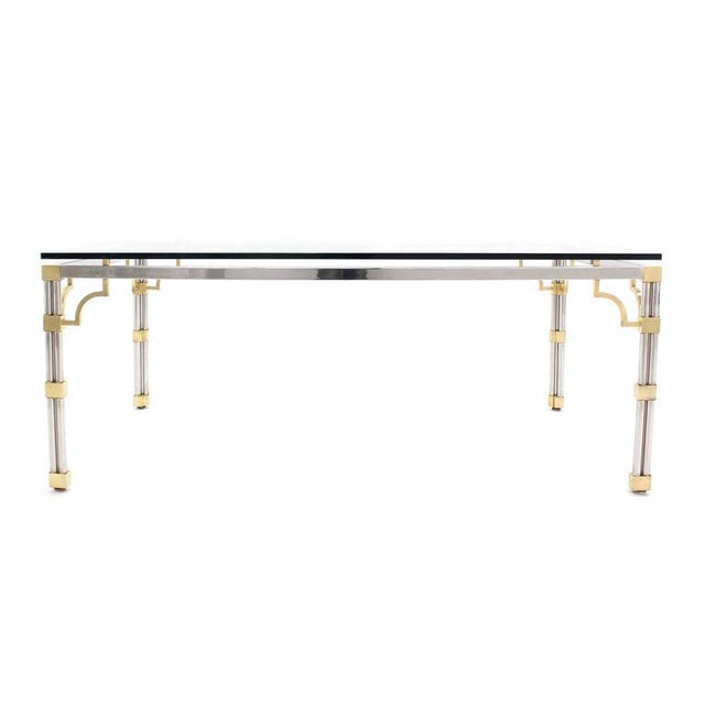 Brass Glass Top Rectangle Chrome Brass Dining Conference Table For Sale - Image 7 of 7