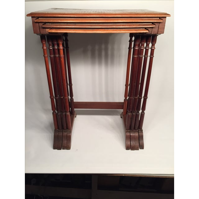 1820s English Walnut Nesting Tables, Signed - 4 For Sale - Image 7 of 11