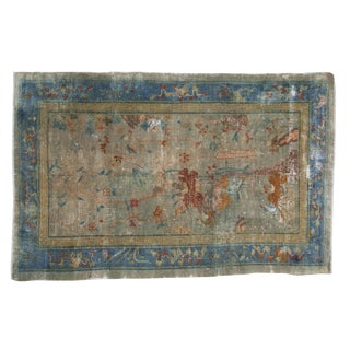 "Antique Distressed Peking Rug - 4'4"" X 6'6"" For Sale"