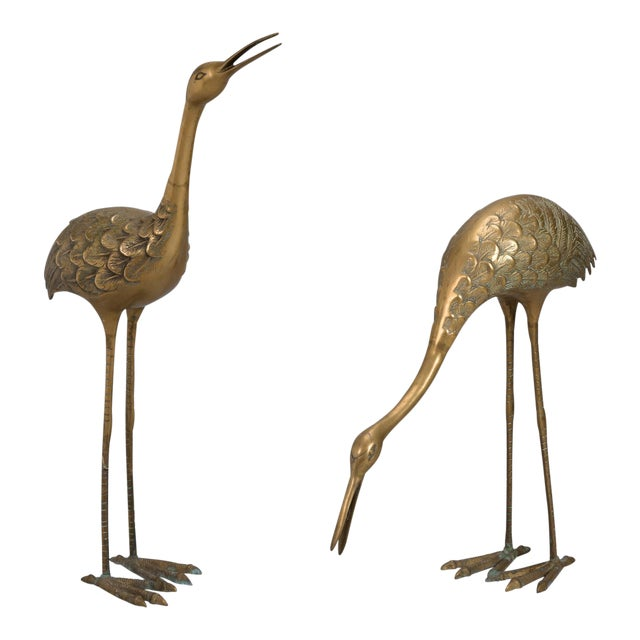 Pair Mid Century Tall Brass Crane Statues For Sale