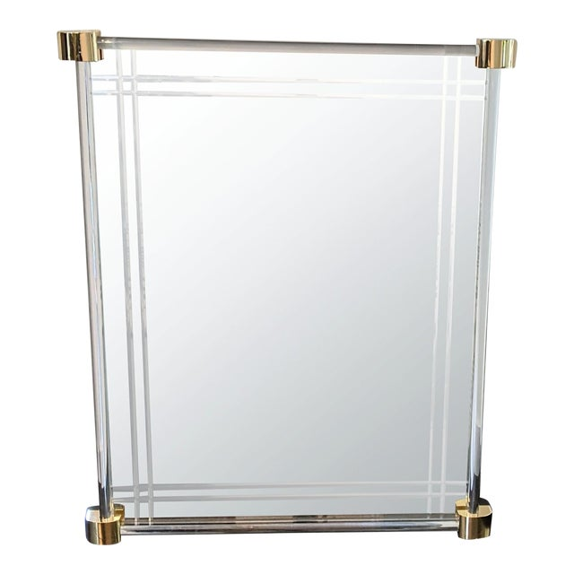 Vintage 1970s Lucite Framed Wall Mirror With Brass Corner Details For Sale