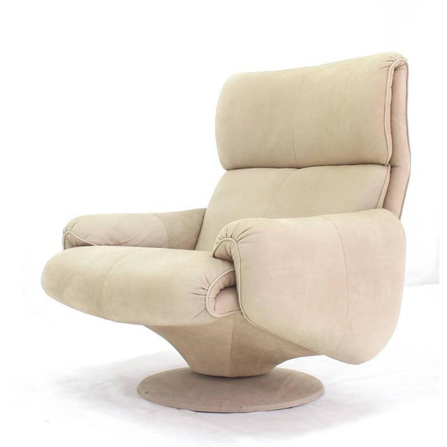 Beige Suede Leather Lounge Chair with Matching Ottoman For Sale - Image 4 of 10