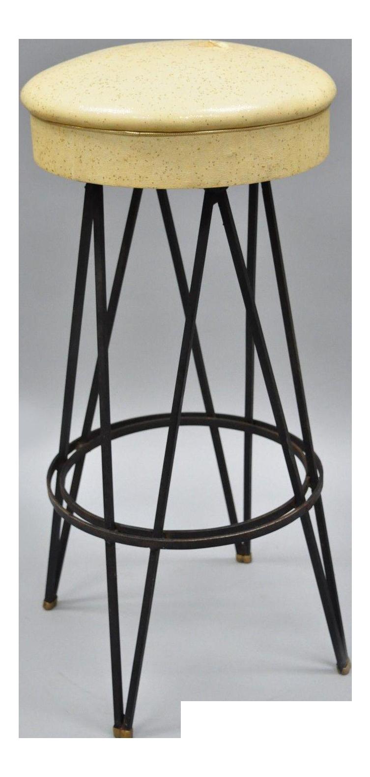 Image of: Vintage Wrought Iron Metal Hairpin Leg Atomic Era Swivel Bar Stool Chairish