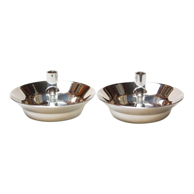 Jens Quistgaard for Dansk Silver-Plated Candle Holders - A Pair For Sale