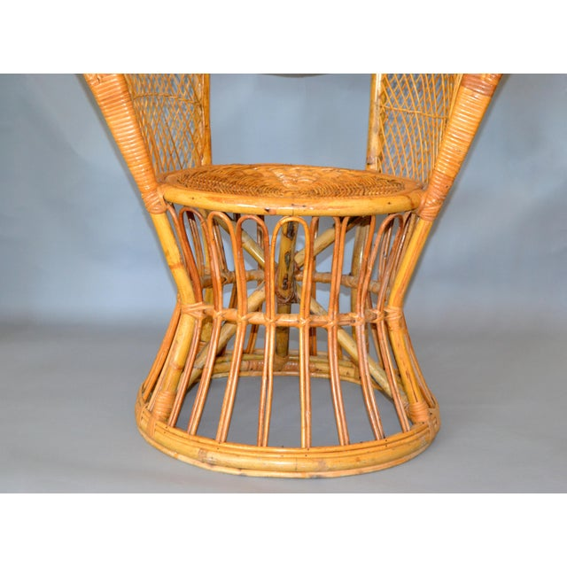 Brown Vintage Boho Chic Handcrafted Wicker, Rattan and Reed Peacock High Back Chair For Sale - Image 8 of 13