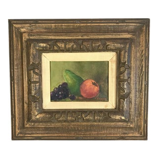 Vintage Mid-Century Framed Still Life of Various Fruits Painting For Sale