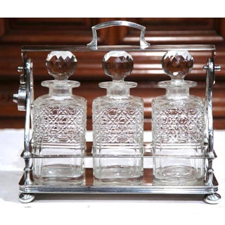 19th Century English Silver Plated 3-Carafe Tantalus With Lock Mechanism Preview