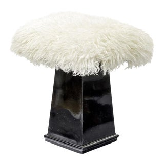 Spectacular Danish Stool in Black Lacquered Wood and Real Fur For Sale
