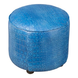 Sarreid Round Footrest, Embossed Croc Blue Leather For Sale