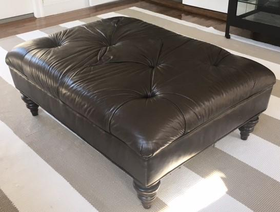 Ethan Allen Leather Tufted Ottoman Chairish