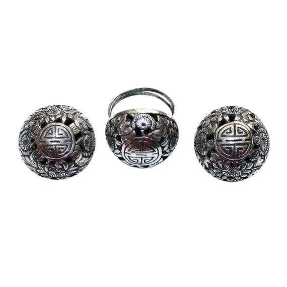 Sterling Asian Motif Ring and Earrings Set, Vintage For Sale