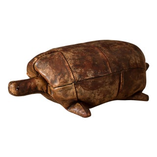 Vintage Abercrombie and Fitch Leather Turtle Footstool by Dimitri Omersa For Sale