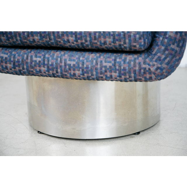 Silver Leon Rosen for Pace Swivel Chair With Chrome Plinth Base For Sale - Image 8 of 9