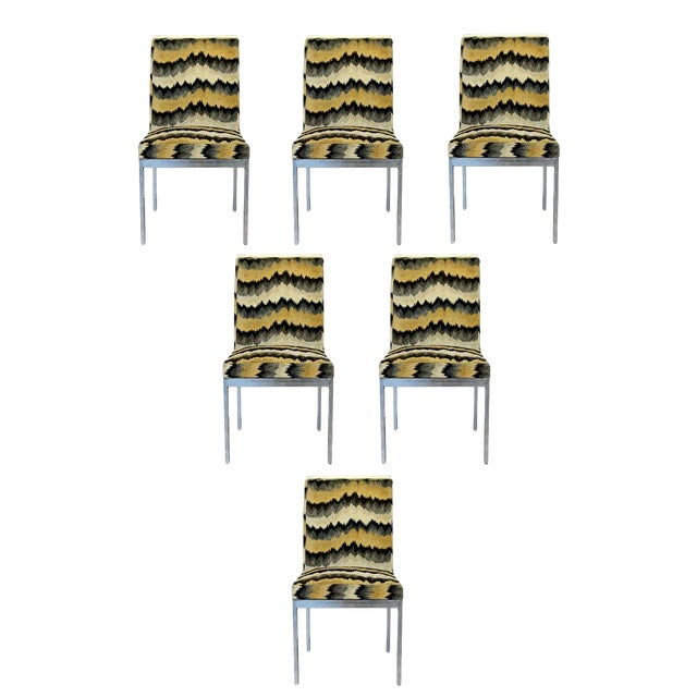 Mid Century Modern Set of 6 Milo Baughman Dia Chrome Side Dining Chairs 1970s For Sale