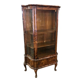 Antique Biedermeier Style Vitrine Cabinet W Exotic Mahogany For Sale