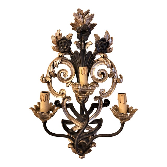 Pair of Italian Carved Wood Wall Sconces Circa 1940s-1950s For Sale