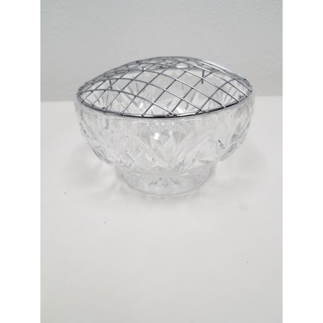 Glass Antique English Crystal Flower Frog For Sale - Image 7 of 7