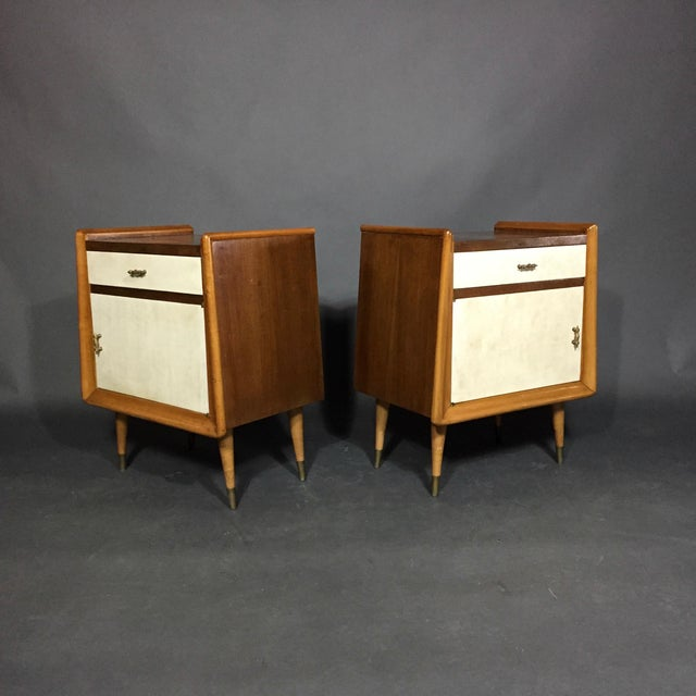 Pair Italian 1960 Parchment and Maple Nightstands For Sale - Image 9 of 9