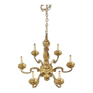 Mid Century Vintage Chapman Solid Brass Light Fixture For Sale