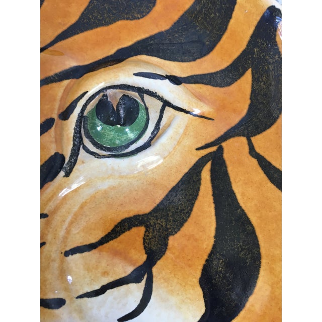 Mid Century Italian Hand Painted Striped Tiger Platter For Sale - Image 9 of 13