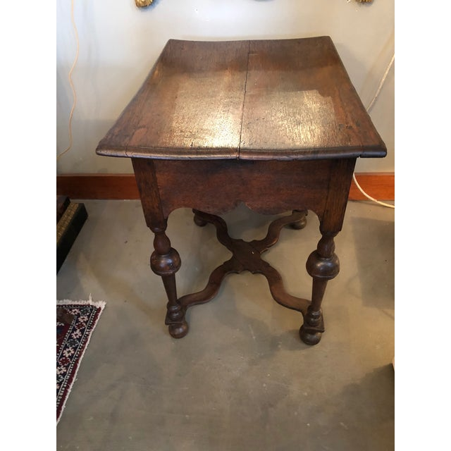 Late 19th Century 19th Century Traditional William & Mary Revival English Oak Table with Drawer For Sale - Image 5 of 12