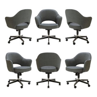 Saarinen Executive Arm Chairs in Textured Charcoal Weave, Swivel Base - Set of 6