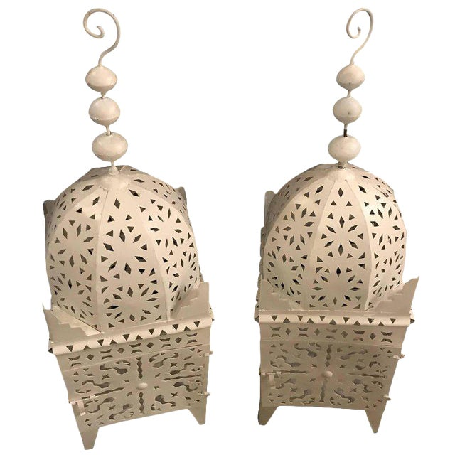 Moroccan Floor Candle Holder Lanterns in White - a Pair For Sale