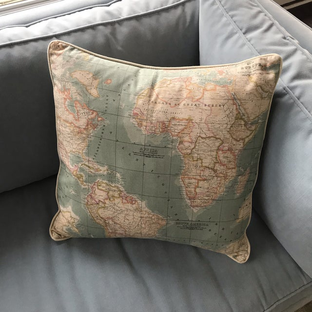 Accent Pillow - World Map Pattern For Sale - Image 4 of 5