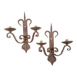 1960s Large French Hammered Metal Sconces - a Pair For Sale