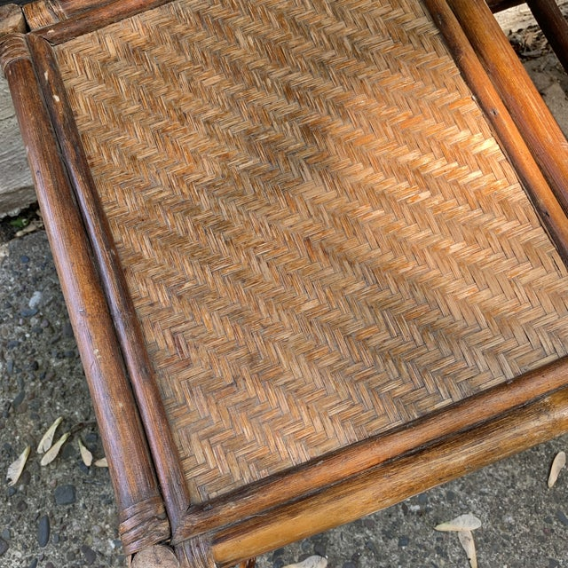 Boho Chic Vintage Rattan and Woven Telephone Bench/ Gossip Table For Sale - Image 3 of 9