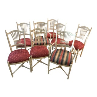 1990s Century Furniture French Provincial Wheat Back Chairs - Set of 8