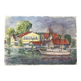 Mid-Century Boathouse Watercolor Painting For Sale