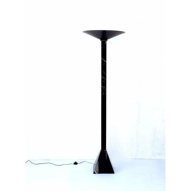 Mid-Century Modern Postmodern Italian Black Marble Torchiere Floor Lamp For Sale - Image 3 of 7